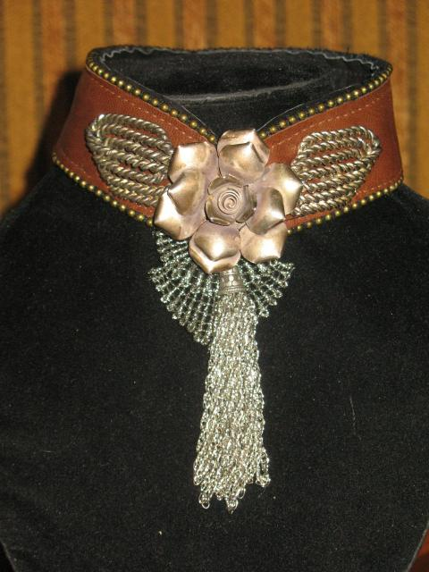 brown leather/sterling rose